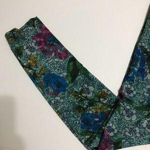 Pants - Comfy Multi Blue Floral Fashion Leggings [LE-15]